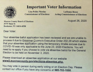 rejection letter for absentee ballot