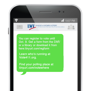 phone with texts containing voter info